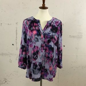 Purple and pink 3/4 sleeve high low blouse